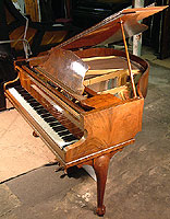 Decorative, Figured walnut, Challen Grand Piano with a walnut case