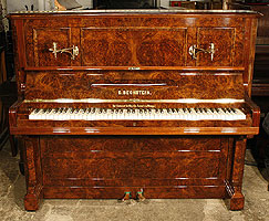 Antique Bechstein Upright Piano with a burr walnut case