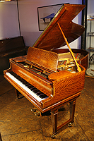 Artcase, Satinwood Steinway Model O Grand Piano, Delicately inaid with boxwood stringing and crossbanding.