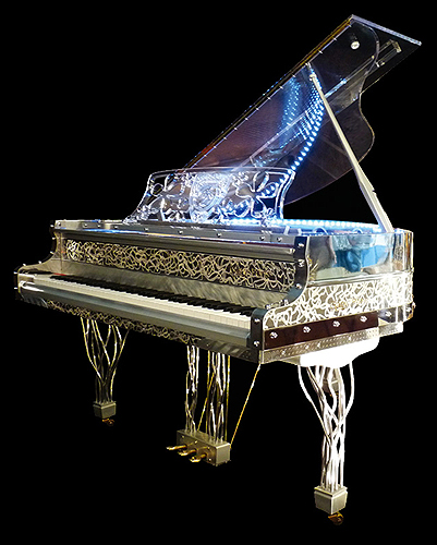 Gary pons sy 160 baby grand piano made from transparent for How big is a grand piano