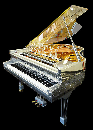 Gary pons sy 170 grand piano made from transparent for Big grand piano