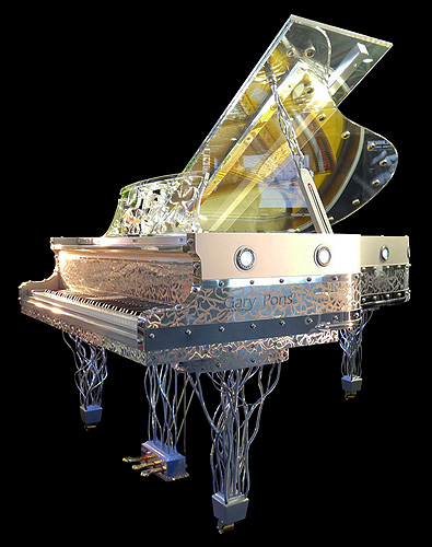 Gary pons sy 187 grand piano with a transparent altuglass for How big is a grand piano