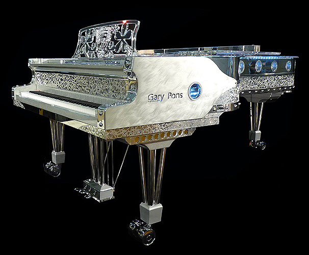 Transparent, Gary Pons SY275  concert grand piano for sale.